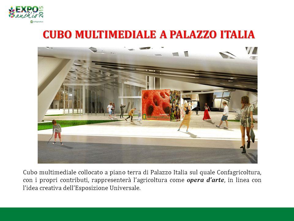 Cubo multimediale collocato a piano terra di Palazzo Italia sul quale Confagricoltura, con i propri contributi, rappresenterà l'agricoltura come opera