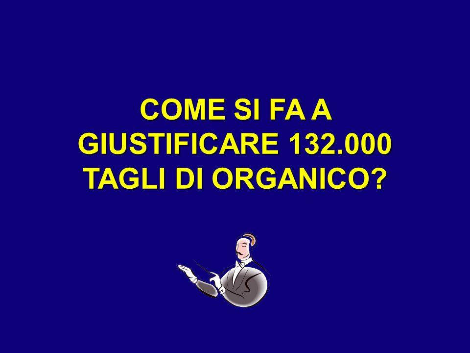 COME SI FA A GIUSTIFICARE 132.000 TAGLI DI ORGANICO