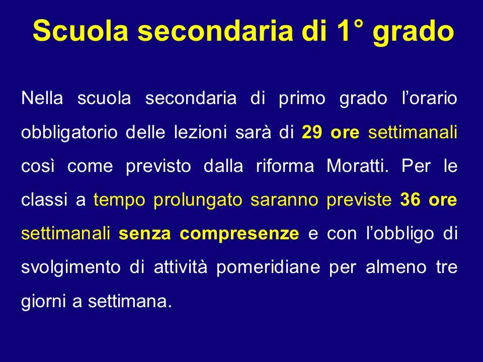 Scuola secondaria di 1° grado Nella scuola secondaria di primo grado l'orario obbligatorio delle lezioni sarà di 29 ore settimanali così come previsto dalla riforma Moratti.