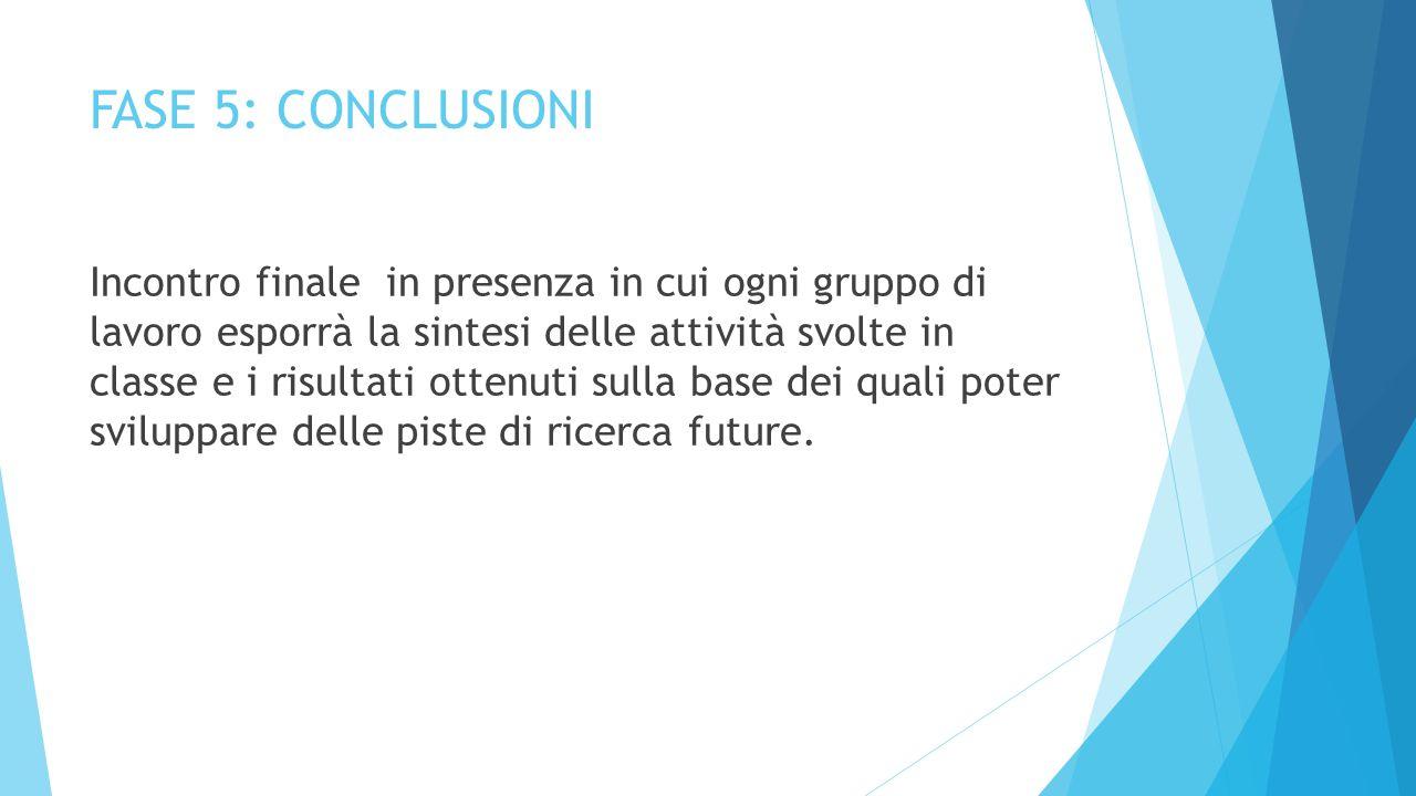 FASE 5: CONCLUSIONI Incontro finale in presenza in cui ogni gruppo di lavoro esporrà la sintesi delle attività svolte in classe e i risultati ottenuti