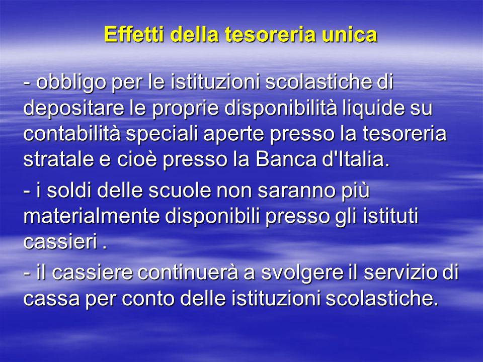 Effetti della tesoreria unica - obbligo per le istituzioni scolastiche di depositare le proprie disponibilità liquide su contabilità speciali aperte presso la tesoreria stratale e cioè presso la Banca d Italia.