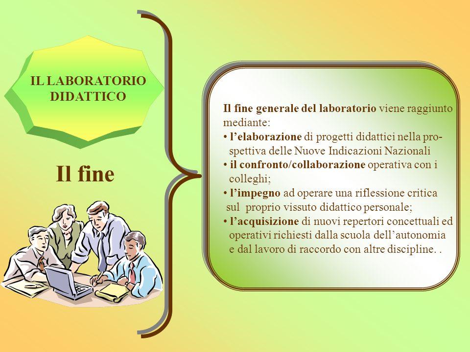 IL LABORATORIO DIDATTICO Il fine Il fine generale del laboratorio viene raggiunto mediante: l'elaborazione di progetti didattici nella pro- spettiva d
