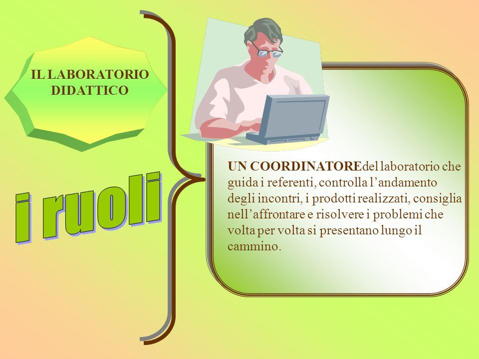IL LABORATORIO DIDATTICO UN COORDINATOREdel laboratorio che guida i referenti, controlla l'andamento degli incontri, i prodotti realizzati, consiglia