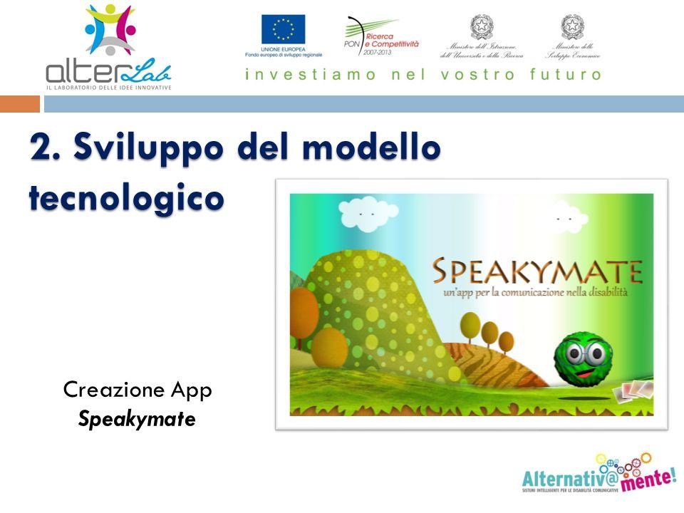 2. Sviluppo del modello tecnologico Creazione App Speakymate