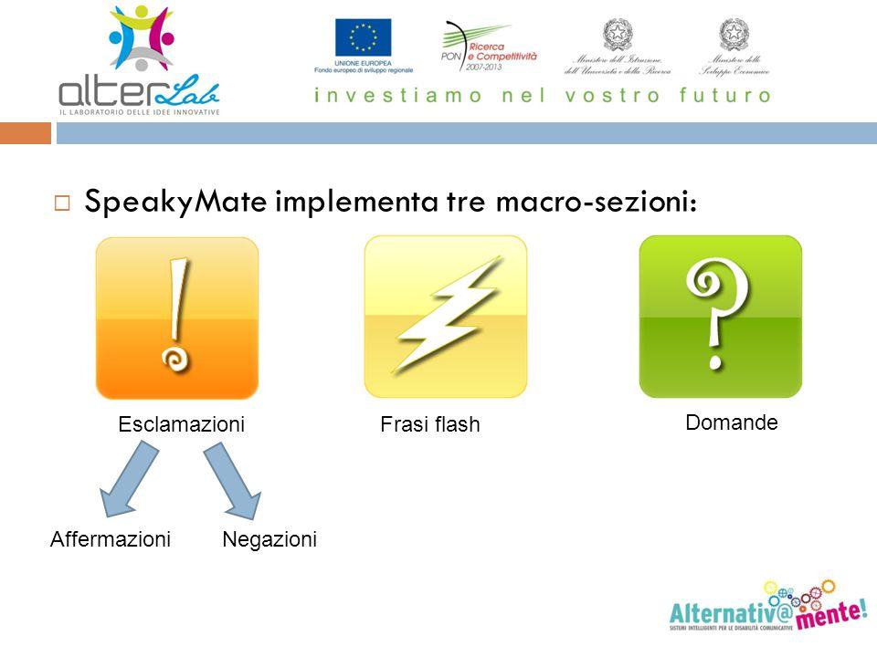  SpeakyMate implementa tre macro-sezioni: EsclamazioniFrasi flash Domande AffermazioniNegazioni