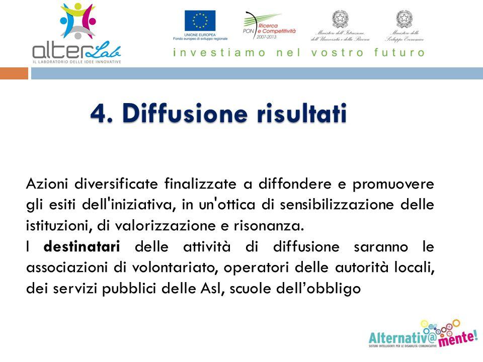 4. Diffusione risultati Azioni diversificate finalizzate a diffondere e promuovere gli esiti dell'iniziativa, in un'ottica di sensibilizzazione delle