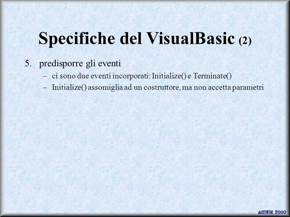 Specifiche del VisualBasic (2) 5.