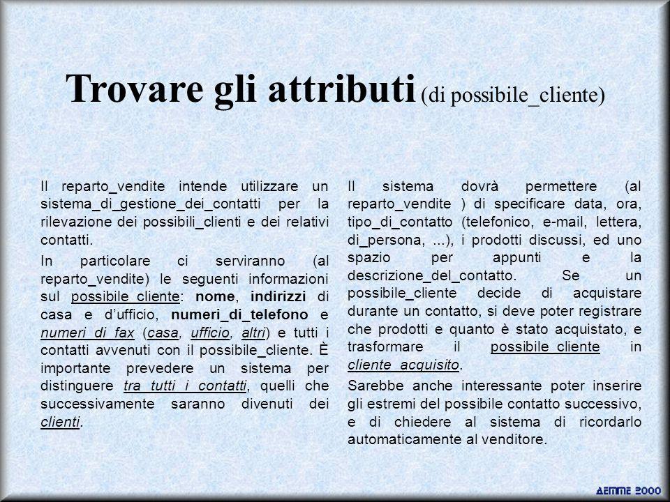 Trovare gli attributi (di possibile_cliente) Il reparto_vendite intende utilizzare un sistema_di_gestione_dei_contatti per la rilevazione dei possibili_clienti e dei relativi contatti.