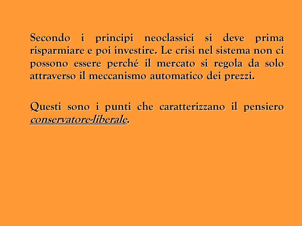 Secondo i principi neoclassici si deve prima risparmiare e poi investire. Le crisi nel sistema non ci possono essere perché il mercato si regola da so