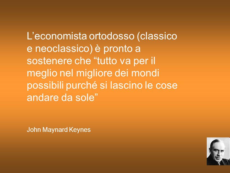 """L'economista ortodosso (classico e neoclassico) è pronto a sostenere che """"tutto va per il meglio nel migliore dei mondi possibili purché si lascino le"""
