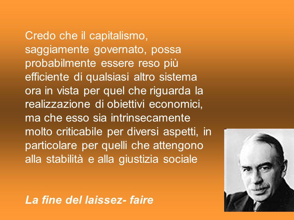 Credo che il capitalismo, saggiamente governato, possa probabilmente essere reso più efficiente di qualsiasi altro sistema ora in vista per quel che r