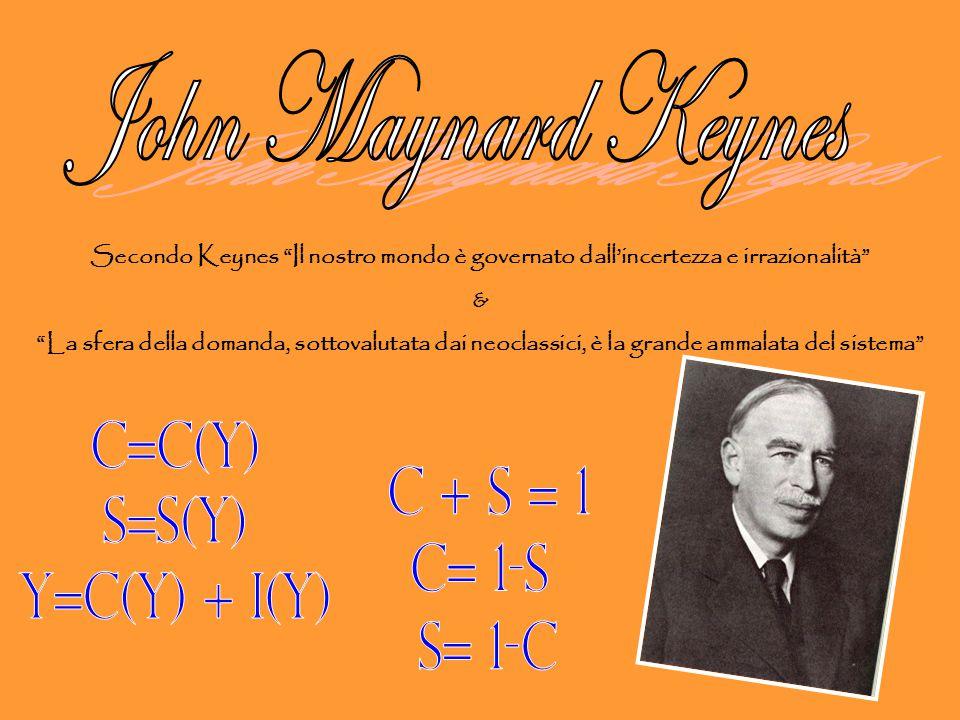"""Secondo Keynes """"Il nostro mondo è governato dall'incertezza e irrazionalità"""" & """"La sfera della domanda, sottovalutata dai neoclassici, è la grande amm"""