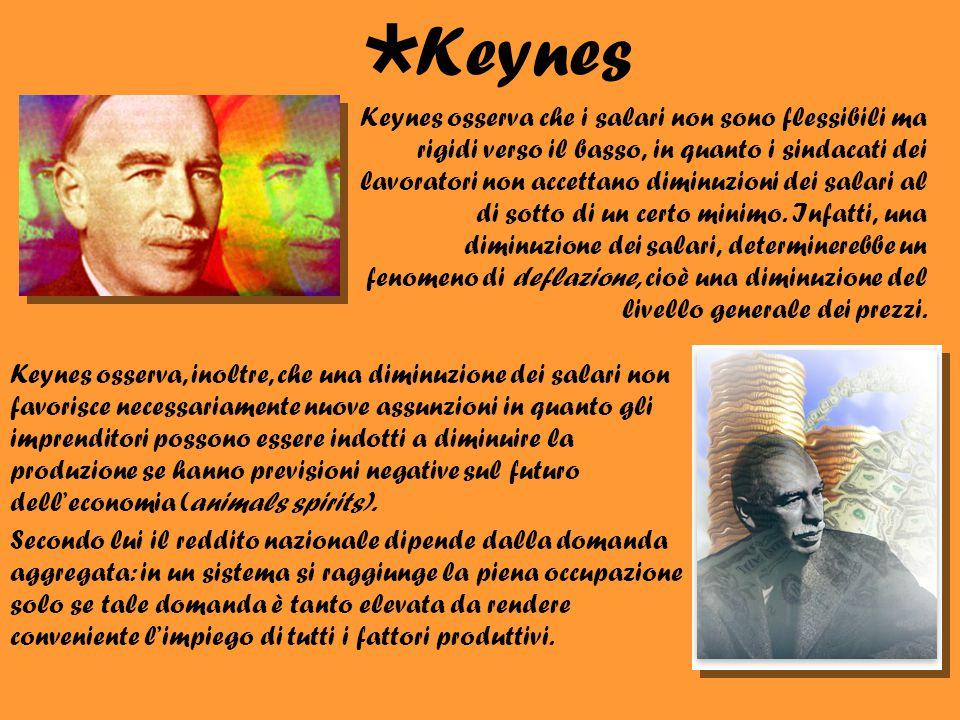 Keynes osserva che i salari non sono flessibili ma rigidi verso il basso, in quanto i sindacati dei lavoratori non accettano diminuzioni dei salari al