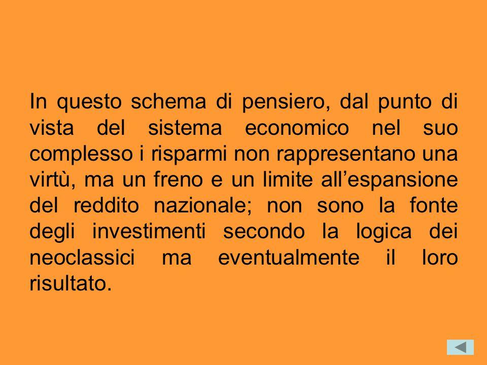 In questo schema di pensiero, dal punto di vista del sistema economico nel suo complesso i risparmi non rappresentano una virtù, ma un freno e un limi