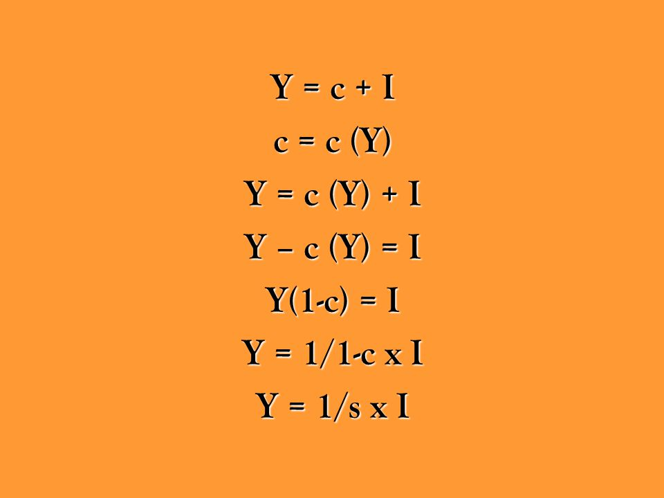 Y = c + I c = c (Y) Y = c (Y) + I Y – c (Y) = I Y(1-c) = I Y = 1/1-c x I Y = 1/s x I