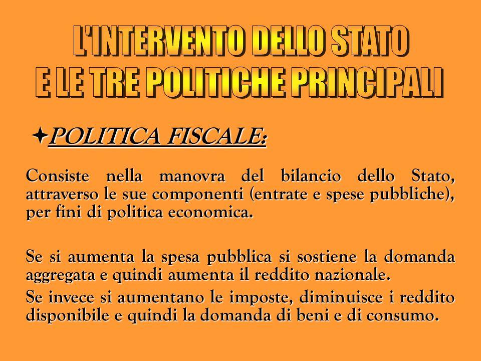 PPPPOLITICA FISCALE: Consiste nella manovra del bilancio dello Stato, attraverso le sue componenti (entrate e spese pubbliche), per fini di politi