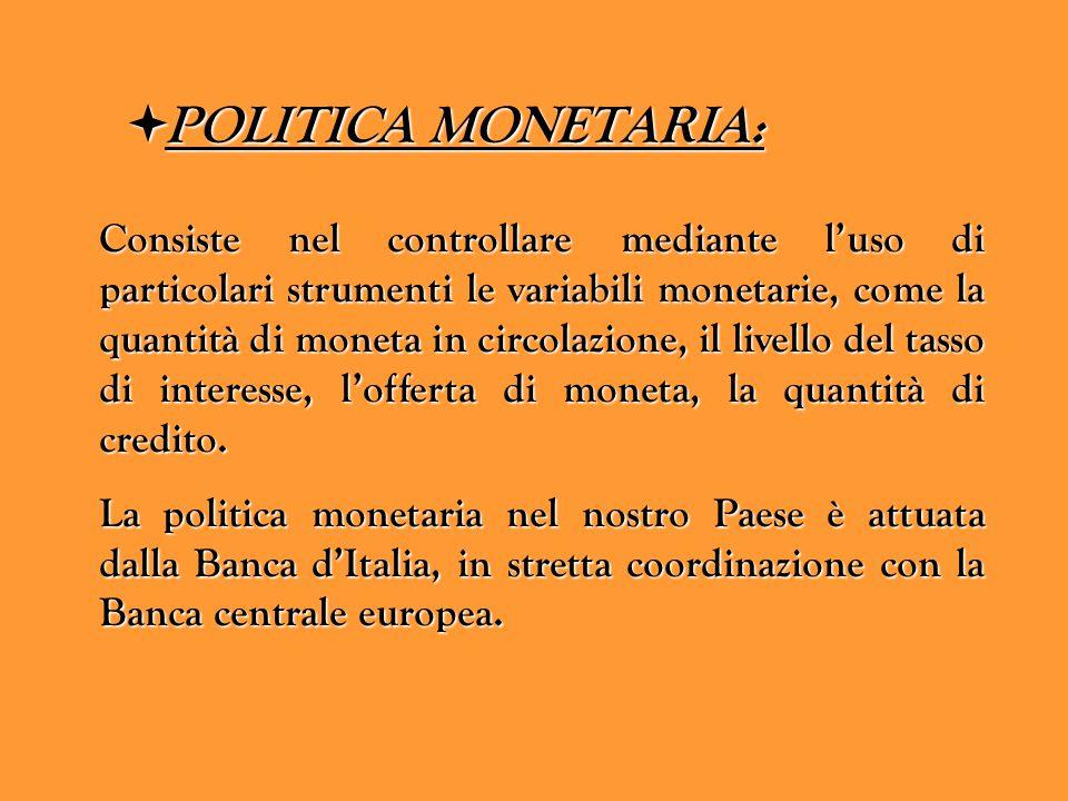 PPPPOLITICA MONETARIA: Consiste nel controllare mediante l'uso di particolari strumenti le variabili monetarie, come la quantità di moneta in circ