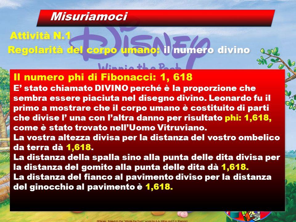 Il numero phi di Fibonacci: 1, 618 E' stato chiamato DIVINO perché è la proporzione che sembra essere piaciuta nel disegno divino.