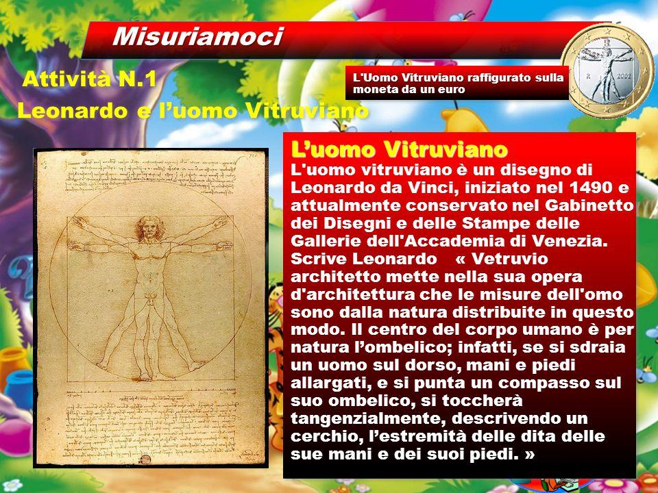 Misuriamoci Leonardo e l'uomo Vitruviano Attività N.1 L'uomo Vitruviano L uomo vitruviano è un disegno di Leonardo da Vinci, iniziato nel 1490 e attualmente conservato nel Gabinetto dei Disegni e delle Stampe delle Gallerie dell Accademia di Venezia.