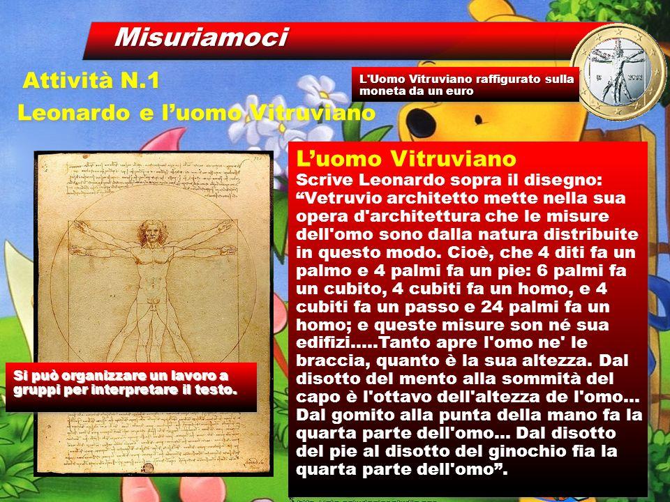 Misuriamoci Leonardo e l'uomo Vitruviano Attività N.1 L'uomo Vitruviano Scrive Leonardo sopra il disegno: Vetruvio architetto mette nella sua opera d architettura che le misure dell omo sono dalla natura distribuite in questo modo.