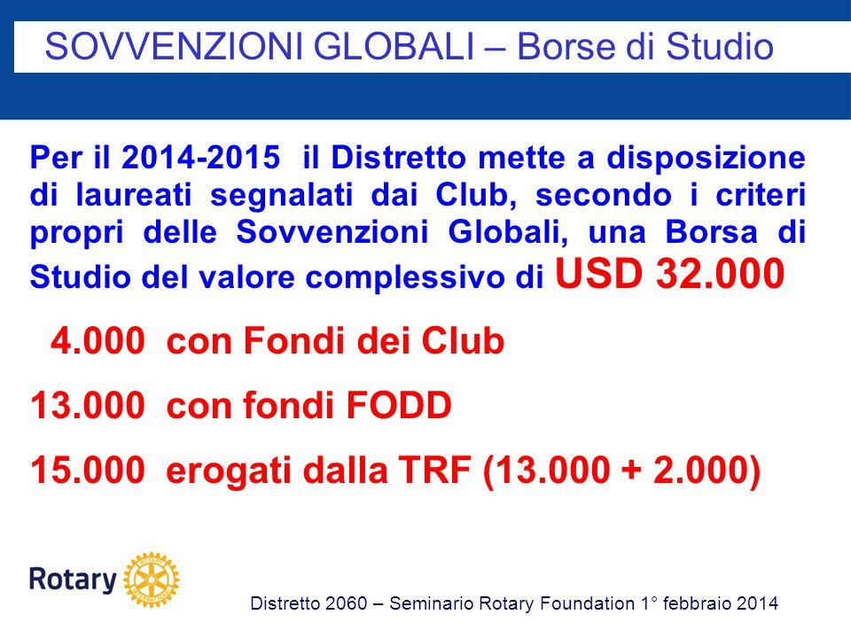 SOVVENZIONI GLOBALI – Borse di Studio Distretto 2060 – Seminario Rotary Foundation 1° febbraio 2014 Per il 2014-2015 il Distretto mette a disposizione di laureati segnalati dai Club, secondo i criteri propri delle Sovvenzioni Globali, una Borsa di Studio del valore complessivo di USD 32.000 4.000 con Fondi dei Club 13.000 con fondi FODD 15.000 erogati dalla TRF (13.000 + 2.000)