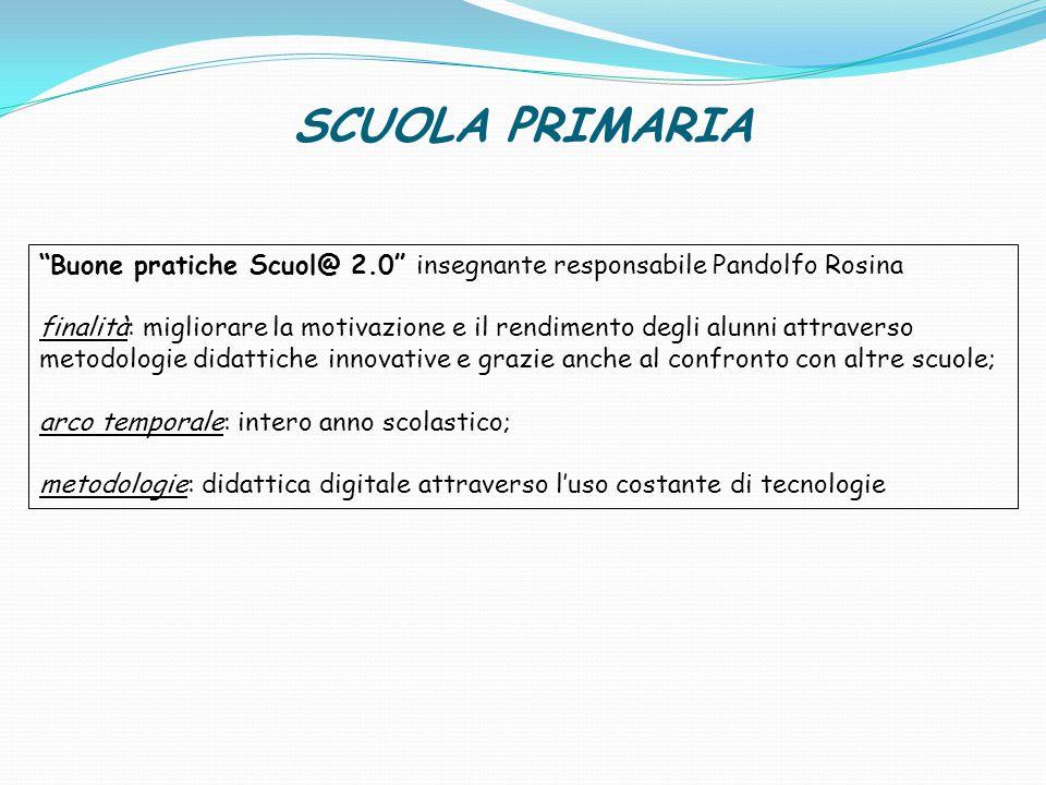 """SCUOLA PRIMARIA """"Buone pratiche Scuol@ 2.0"""" insegnante responsabile Pandolfo Rosina finalità: migliorare la motivazione e il rendimento degli alunni a"""