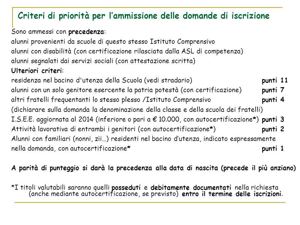 Criteri di priorità per l'ammissione delle domande di iscrizione Sono ammessi con precedenza: alunni provenienti da scuole di questo stesso Istituto C