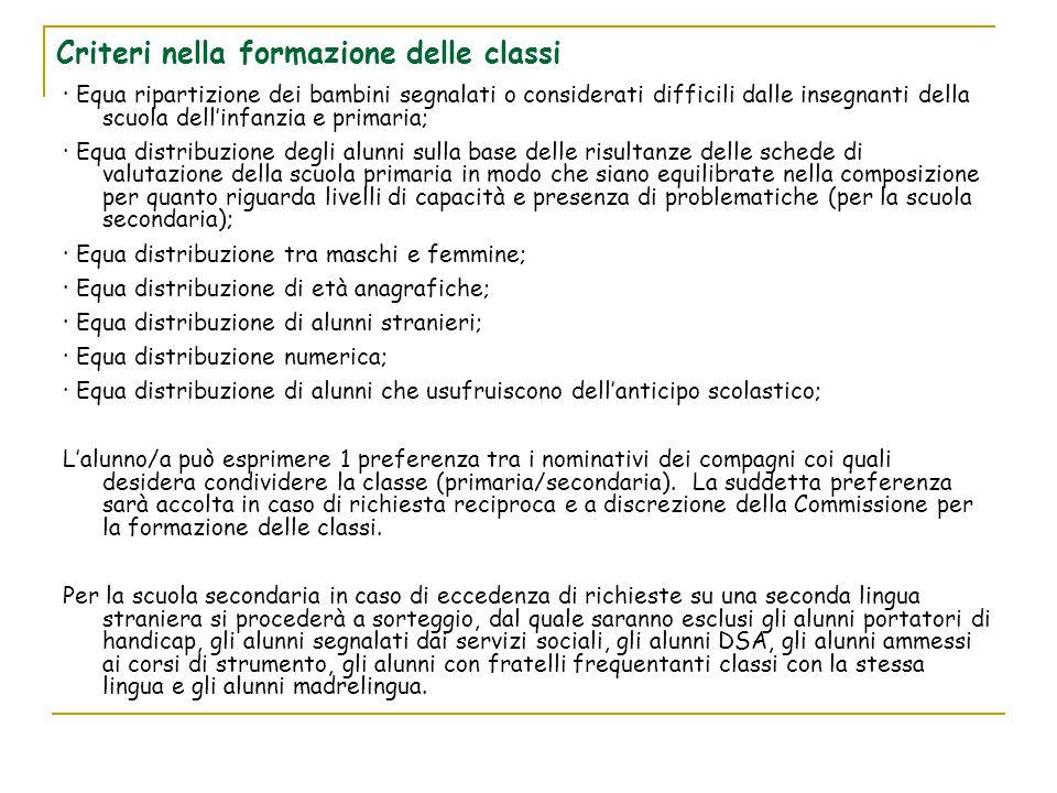 Criteri nella formazione delle classi · Equa ripartizione dei bambini segnalati o considerati difficili dalle insegnanti della scuola dell'infanzia e