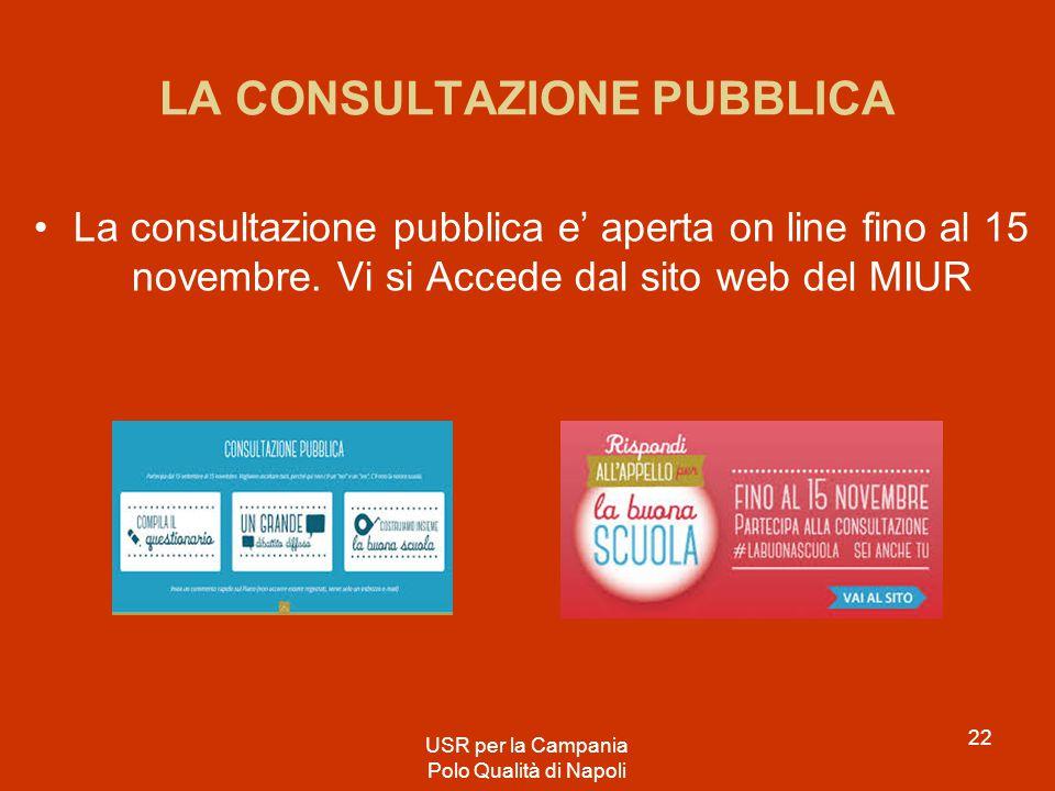 LA CONSULTAZIONE PUBBLICA La consultazione pubblica e' aperta on line fino al 15 novembre. Vi si Accede dal sito web del MIUR USR per la Campania Polo