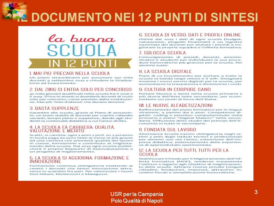 IL DOCUMENTO NEI 12 PUNTI DI SINTESI USR per la Campania Polo Qualità di Napoli 3