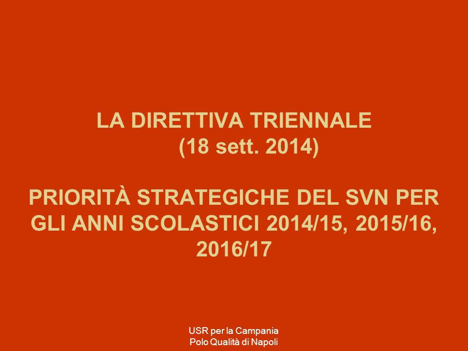 LA DIRETTIVA TRIENNALE (18 sett. 2014) PRIORITÀ STRATEGICHE DEL SVN PER GLI ANNI SCOLASTICI 2014/15, 2015/16, 2016/17 USR per la Campania Polo Qualità