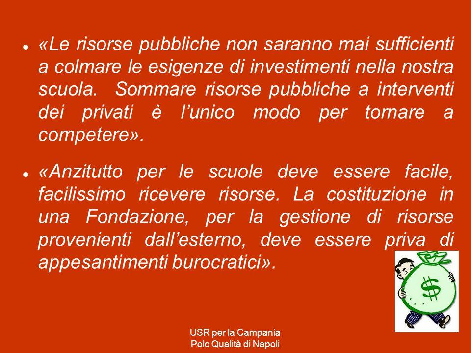 «Le risorse pubbliche non saranno mai sufficienti a colmare le esigenze di investimenti nella nostra scuola.
