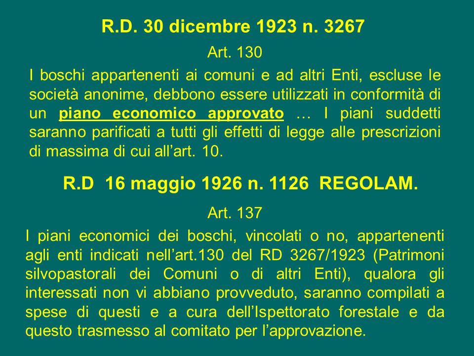 R.D. 30 dicembre 1923 n. 3267 Art. 130 I boschi appartenenti ai comuni e ad altri Enti, escluse le società anonime, debbono essere utilizzati in confo