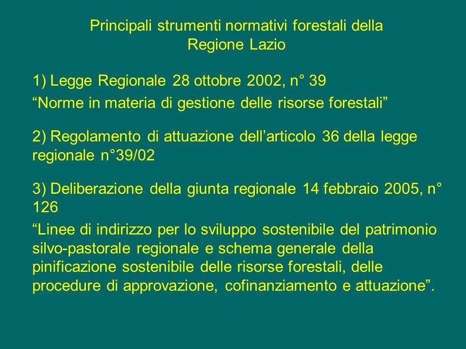 Strumenti di gestione forestale della Regione Lazio Proprietà Strumento operativo Regime amministrativo Azienda pub.PGAFAPPROVAZIONE REGIONE Azienda priv.PPTAPPROVAZIONE REGIONE Sup > art.19 RFPUFAUTORIZZAZIONE PROVINCIA Sup > 3 ha <art.