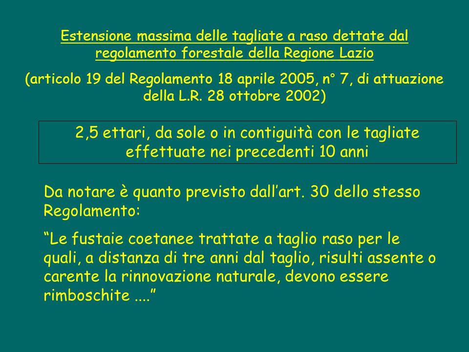 Estensione massima delle tagliate Il regolamento forestale del Lazio prescrive per i cedui matricinati le seguenti estensioni massime della tagliata (art.