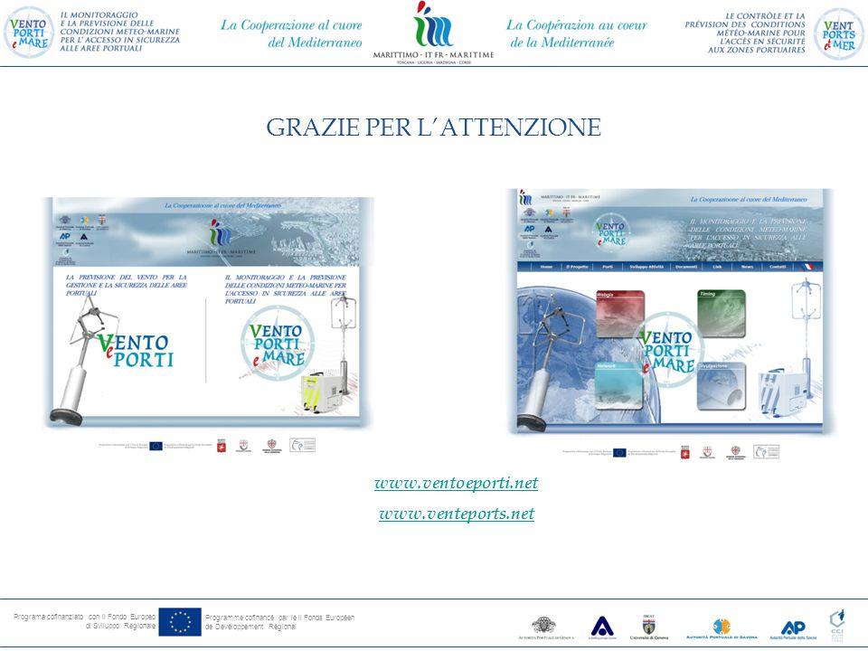 Programa cofinanziato con il Fondo Europeo di Sviluppo Regionale Programme cofinancé par le il Fonds Européen de Devéloppement Régional www.ventoeporti.net www.venteports.net GRAZIE PER L'ATTENZIONE