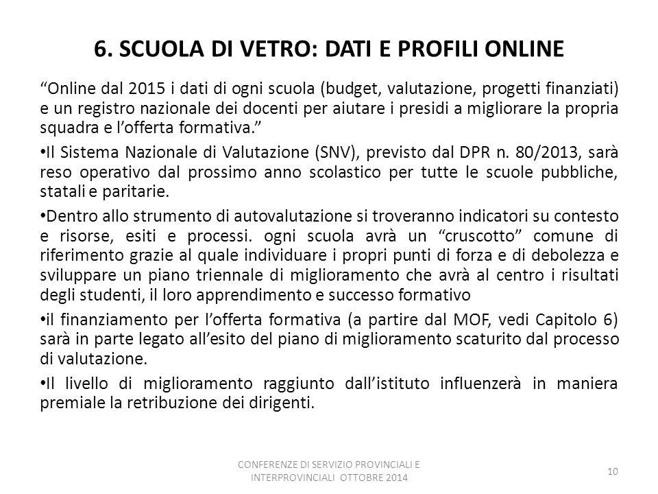 """6. SCUOLA DI VETRO: DATI E PROFILI ONLINE """"Online dal 2015 i dati di ogni scuola (budget, valutazione, progetti finanziati) e un registro nazionale de"""