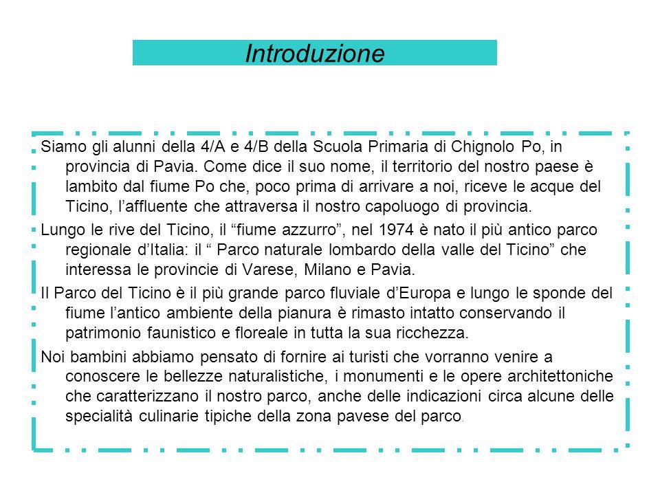 Introduzione Siamo gli alunni della 4/A e 4/B della Scuola Primaria di Chignolo Po, in provincia di Pavia. Come dice il suo nome, il territorio del no