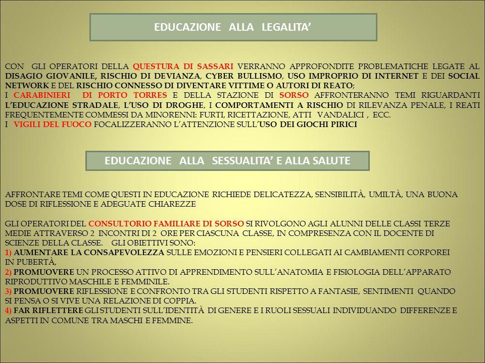EDUCAZIONE ALLA LEGALITA' EDUCAZIONE ALLA SESSUALITA' E ALLA SALUTE CON GLI OPERATORI DELLA QUESTURA DI SASSARI VERRANNO APPROFONDITE PROBLEMATICHE LEGATE AL DISAGIO GIOVANILE, RISCHIO DI DEVIANZA, CYBER BULLISMO, USO IMPROPRIO DI INTERNET E DEI SOCIAL NETWORK E DEL RISCHIO CONNESSO DI DIVENTARE VITTIME O AUTORI DI REATO ; I CARABINIERI DI PORTO TORRES E DELLA STAZIONE DI SORSO AFFRONTERANNO TEMI RIGUARDANTI L'EDUCAZIONE STRADALE, L'USO DI DROGHE, I COMPORTAMENTI A RISCHIO DI RILEVANZA PENALE, I REATI FREQUENTEMENTE COMMESSI DA MINORENNI: FURTI, RICETTAZIONE, ATTI VANDALICI, ECC.