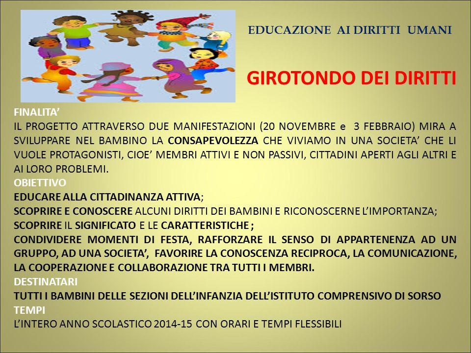 EDUCAZIONE AI DIRITTI UMANI GIROTONDO DEI DIRITTI FINALITA' IL PROGETTO ATTRAVERSO DUE MANIFESTAZIONI (20 NOVEMBRE e 3 FEBBRAIO) MIRA A SVILUPPARE NEL