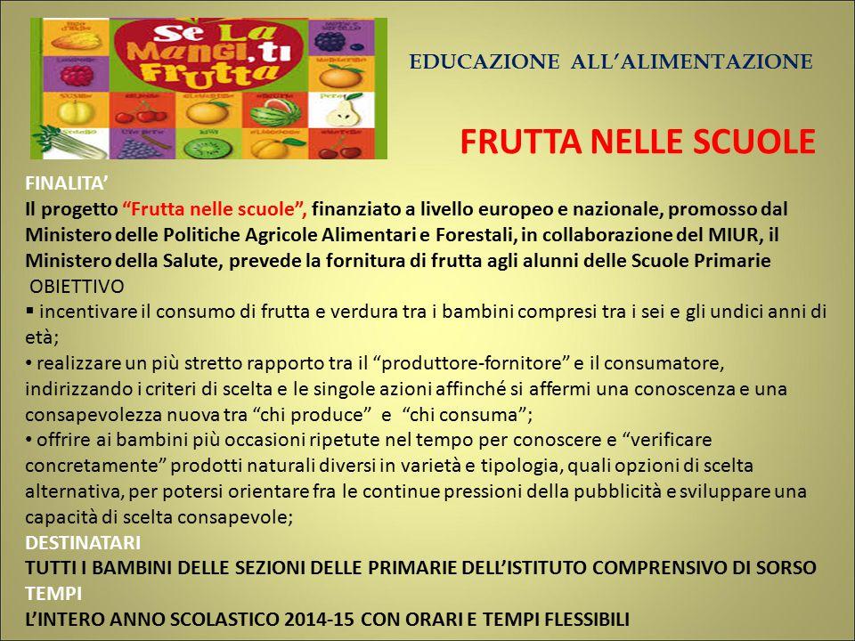 """EDUCAZIONE ALL'ALIMENTAZIONE FRUTTA NELLE SCUOLE FINALITA' Il progetto """"Frutta nelle scuole"""", finanziato a livello europeo e nazionale, promosso dal M"""