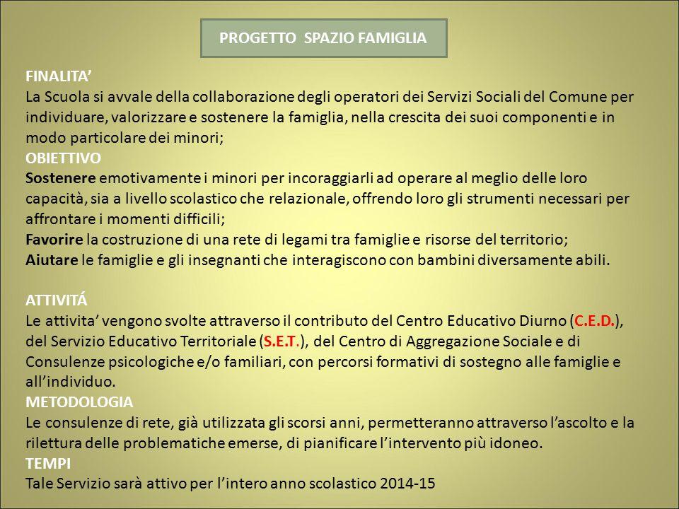 PROGETTO SPAZIO FAMIGLIA FINALITA' La Scuola si avvale della collaborazione degli operatori dei Servizi Sociali del Comune per individuare, valorizzar