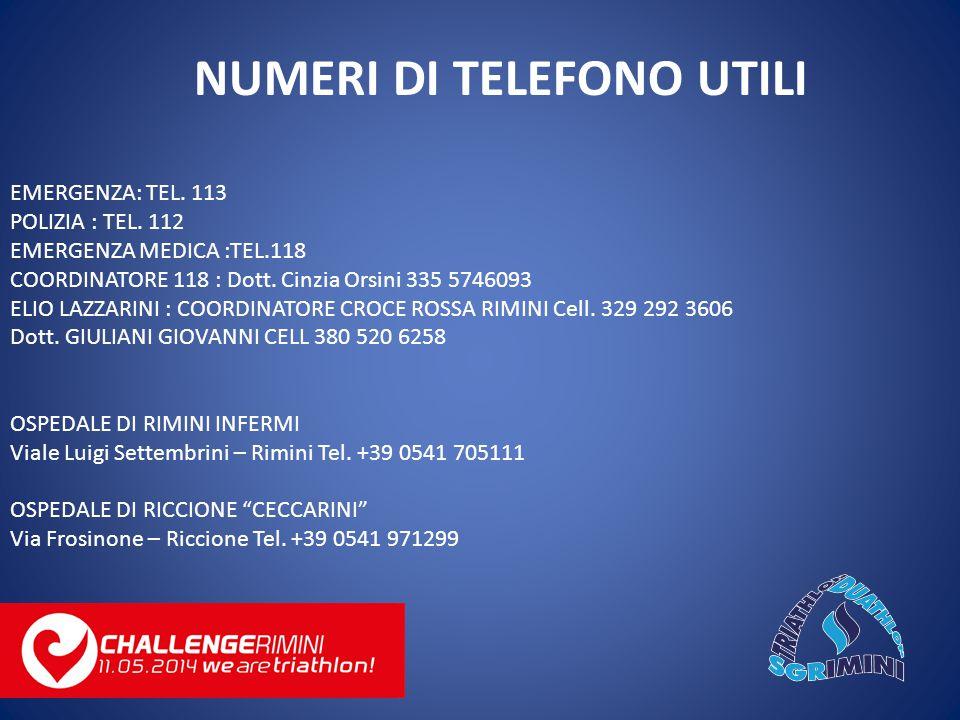 EMERGENZA: TEL. 113 POLIZIA : TEL. 112 EMERGENZA MEDICA :TEL.118 COORDINATORE 118 : Dott.