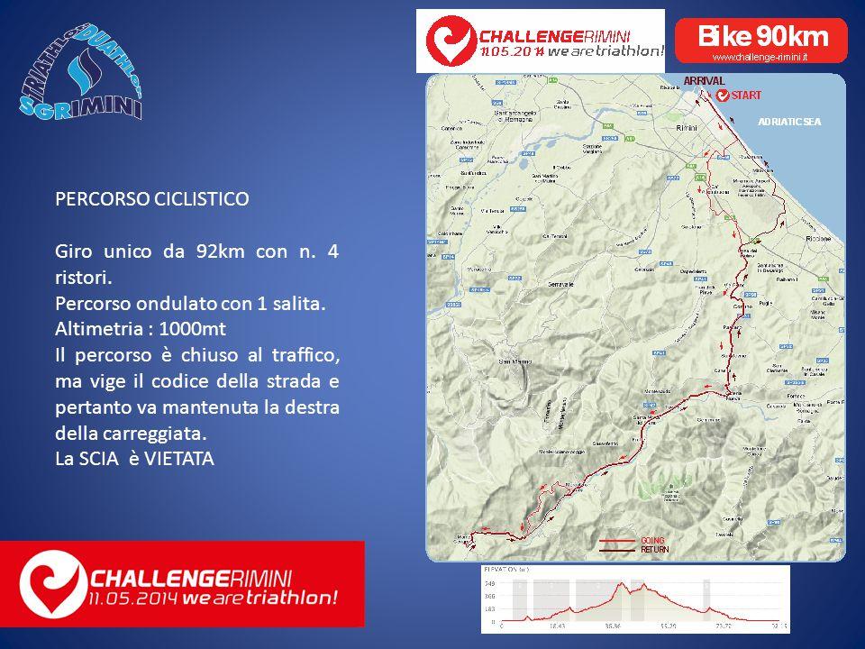 PERCORSO CICLISTICO Giro unico da 92km con n. 4 ristori.