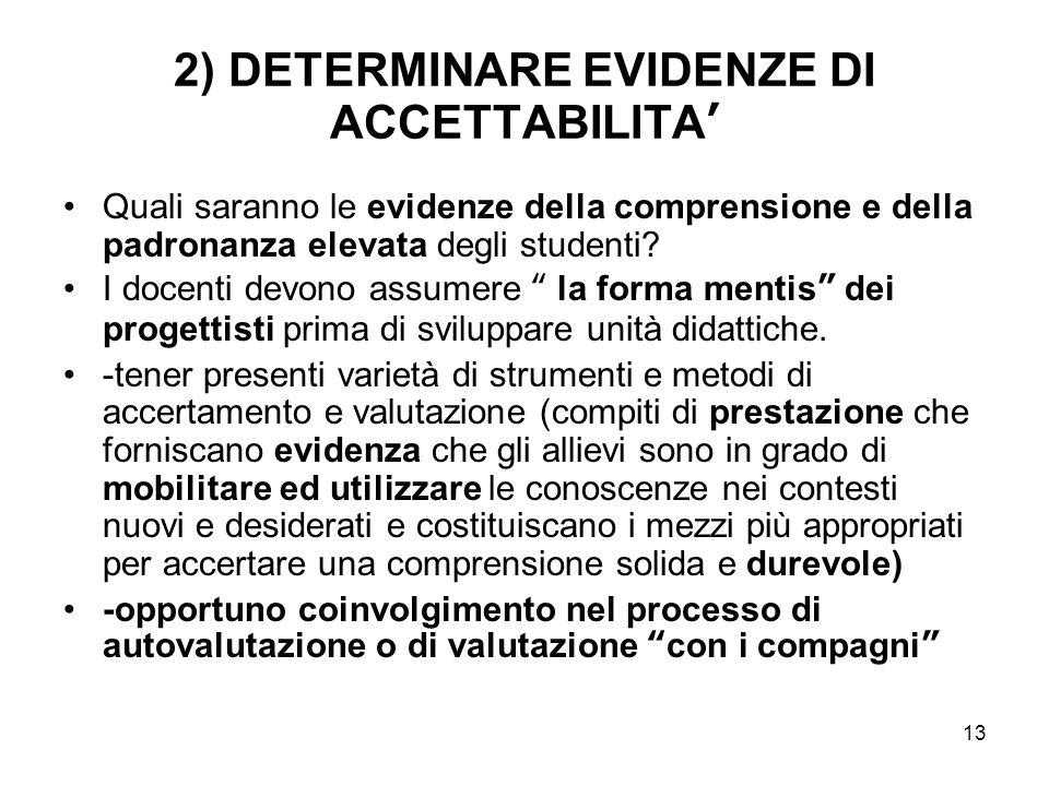 13 2) DETERMINARE EVIDENZE DI ACCETTABILITA' Quali saranno le evidenze della comprensione e della padronanza elevata degli studenti.