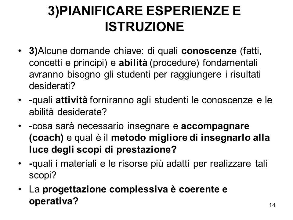 14 3)PIANIFICARE ESPERIENZE E ISTRUZIONE 3)Alcune domande chiave: di quali conoscenze (fatti, concetti e principi) e abilità (procedure) fondamentali