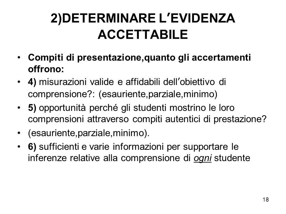 18 2)DETERMINARE L'EVIDENZA ACCETTABILE Compiti di presentazione,quanto gli accertamenti offrono: 4) misurazioni valide e affidabili dell'obiettivo di