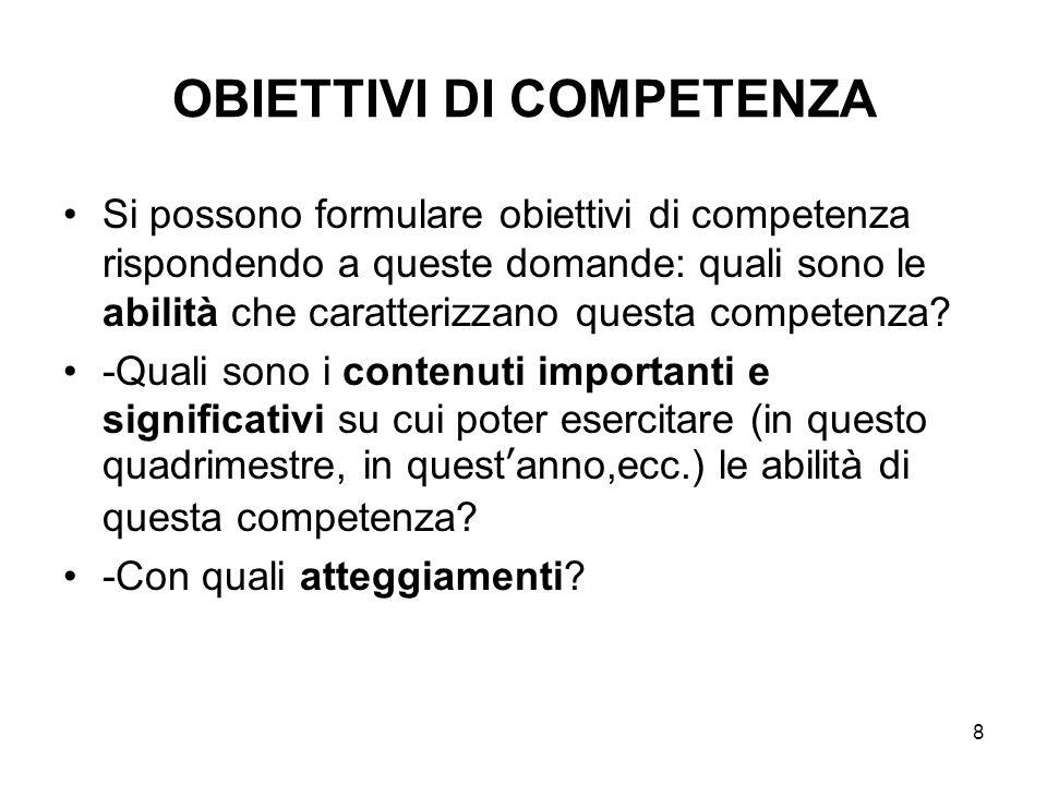 8 OBIETTIVI DI COMPETENZA Si possono formulare obiettivi di competenza rispondendo a queste domande: quali sono le abilità che caratterizzano questa competenza.
