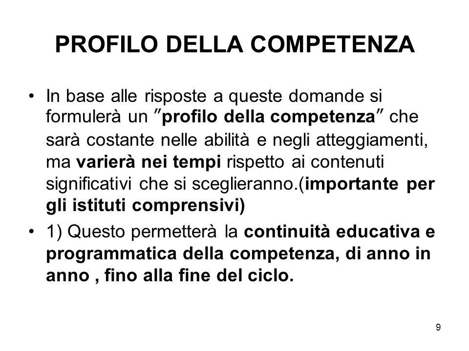"""9 PROFILO DELLA COMPETENZA In base alle risposte a queste domande si formulerà un """"profilo della competenza"""" che sarà costante nelle abilità e negli a"""