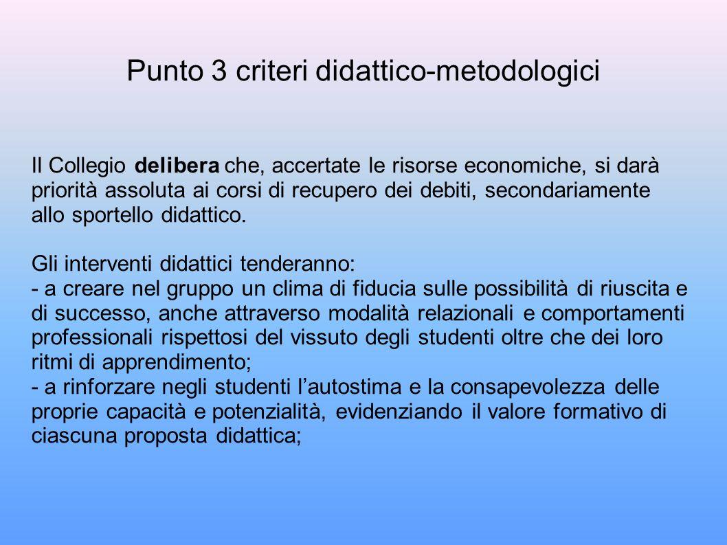 Punto 3 criteri didattico-metodologici Il Collegio delibera che, accertate le risorse economiche, si darà priorità assoluta ai corsi di recupero dei debiti, secondariamente allo sportello didattico.